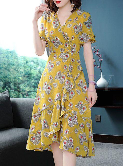 Street Chiffon Floral Print A Line Dress A Line Dress Trendy Dresses Floral Chiffon