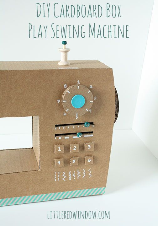 Diy cardboard box play sewing machine