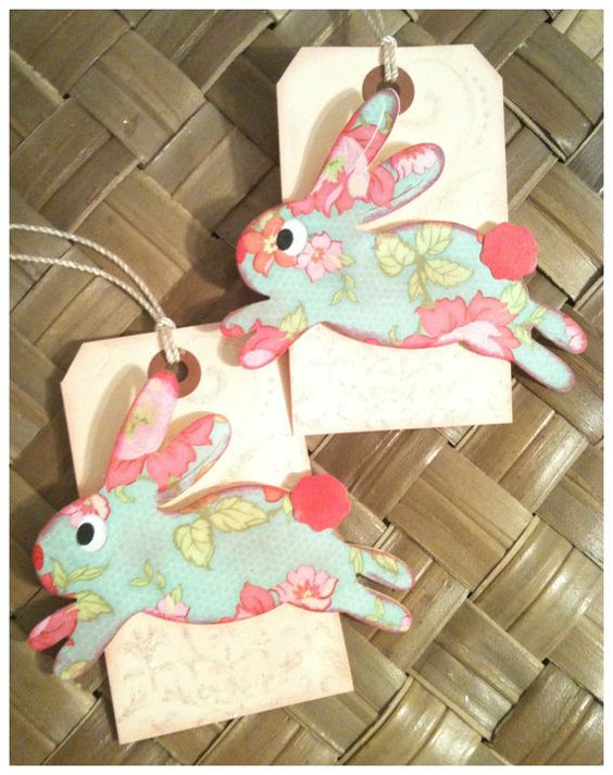Easter Bunny Basket Gift Tag Handmade Shabby Chic Victorian Robin's Egg Blue Pink Cream Bunny Hop Set of 2 on Wanelo