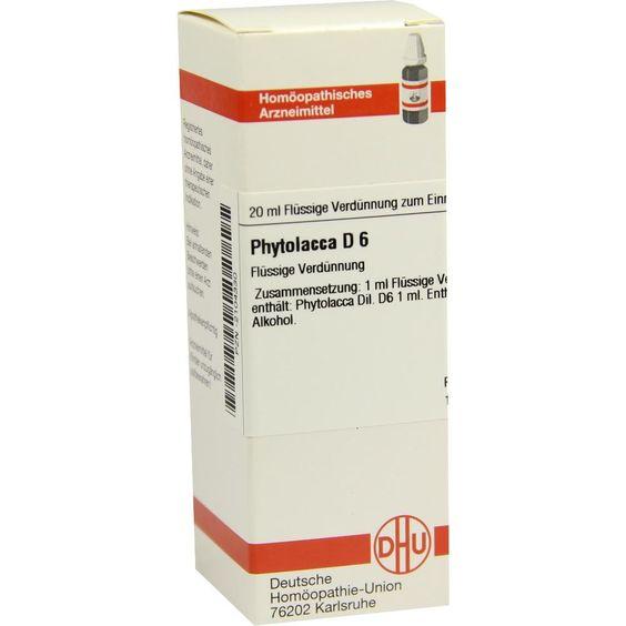 PHYTOLACCA D 6 Dilution:   Packungsinhalt: 20 ml Dilution PZN: 02104330 Hersteller: DHU-Arzneimittel GmbH & Co. KG Preis: 5,64 EUR inkl.…