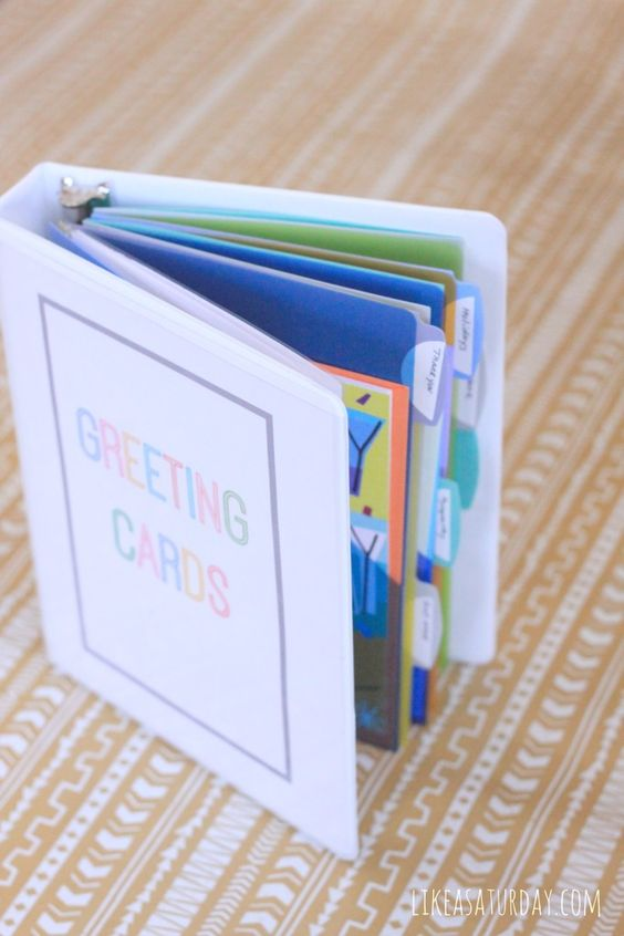 Greeting Card Organizer  Looks like an easy project so I can buy cards in advance and actually find them!