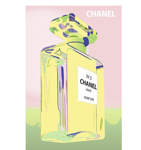 Vintage Poster - Chanel No. 5 - Parfum - Perfume - Chanel Bottle - Paris - Pink - Green - Pastel - Luxury - Pop Art - As seen on The Block Sky High - hardtofind.