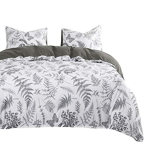 Wake In Cloud Botanical Comforter Set Plant Tree Leaves And Butterfly Pattern Printed In Black White Gray Grey Soft Microfiber Bedding 3pcs King Size L Comforter Sets Microfiber Bedding Comforters