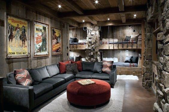 80 Home Theater Design Ideas For Men Movie Room Retreats Rustic Living Room Man Cave Living Room Cozy Living Rooms