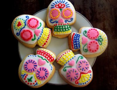 sugar skull cookies. the recipe looks like it makes a fluffy cookie...