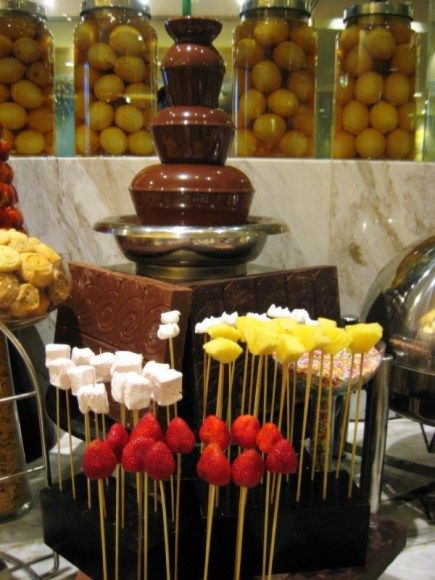 Chocolate fondue fountain & assorted dippers: Pineapple ...