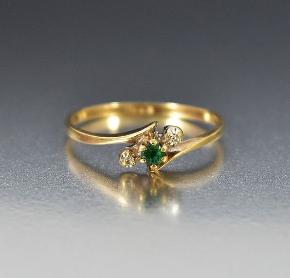 Diamant-Smaragd Verlobungsring, zierliche Promise Ring Stapeln Ring Gold Antik…