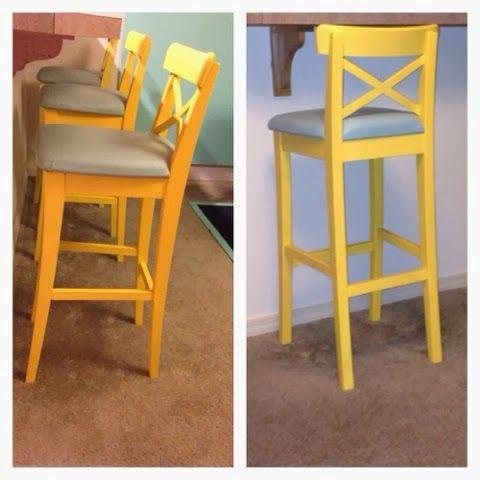 ikea hack #3: bar stools painted. #chalkpaint #ikeahack