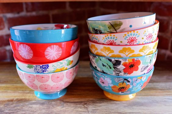 Bowls from The Pioneer Woman collection. I stopped at nine...but could have kept going!