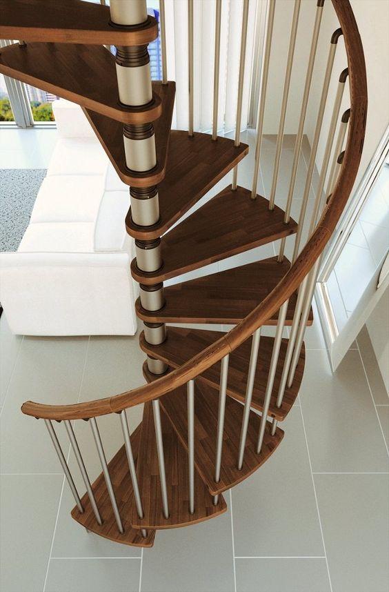 Misterstep Gamia Wood Spiral Staircase Kit Silver Metal