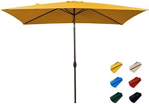 6.6 X 10 Ft,Navy KITADIN Rectangular Patio Umbrella Outdoor Market Table Umbrellas with Push Button Tilt and Crank Lift,6 Sturdy Square Ribs