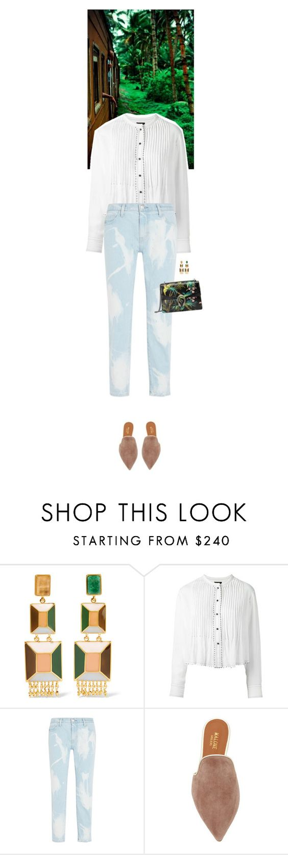 """""""Outfit of the Day"""" by wizmurphy ❤ liked on Polyvore featuring Paula Mendoza, Isabel Marant, Current/Elliott, Malone Souliers, Gucci, ootd and boyfriendjeans"""