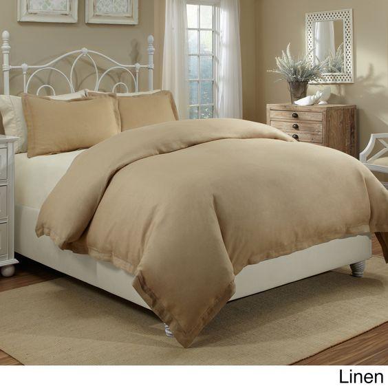 Veratex Spa Linen Cotton Solid 3 Piece Duvet Cover Set Overstock Com Shopping The Best Deals On Duve Duvet Sets Duvet Cover Sets Traditional Bedroom Design
