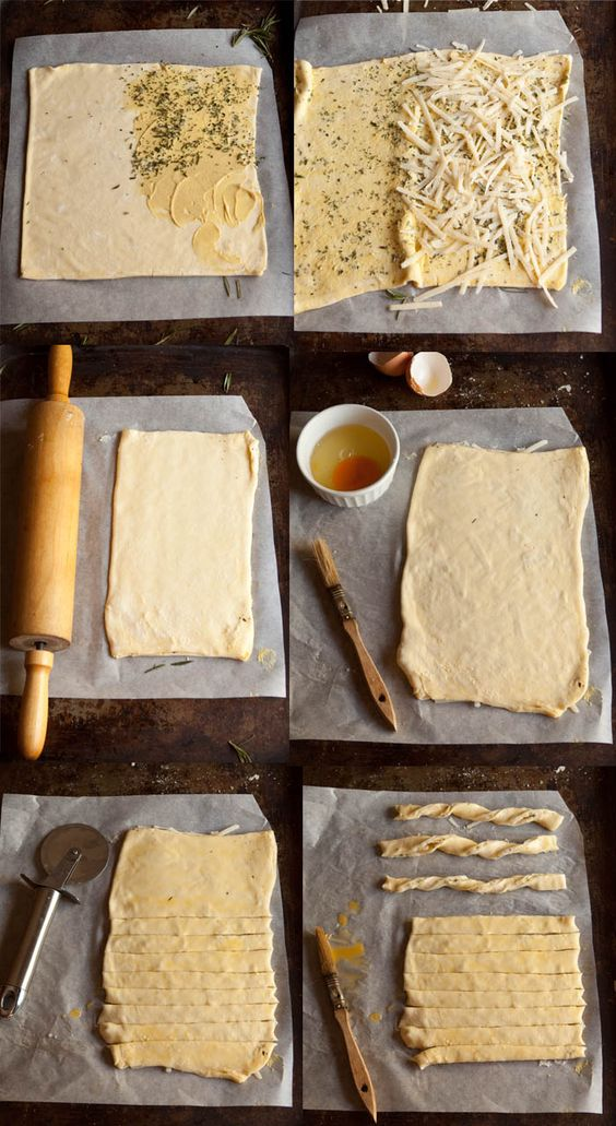 How to make cheese straws with parmesan and rosemary and pesto puff ...