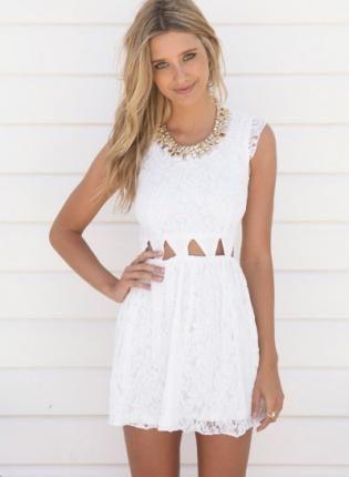 White Day Dress - Off White Sleeveless Lace Dress http://www ...