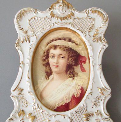 Antique Porcelain Frame Ornately Embossed w GILT Accents * Miniature Portrait