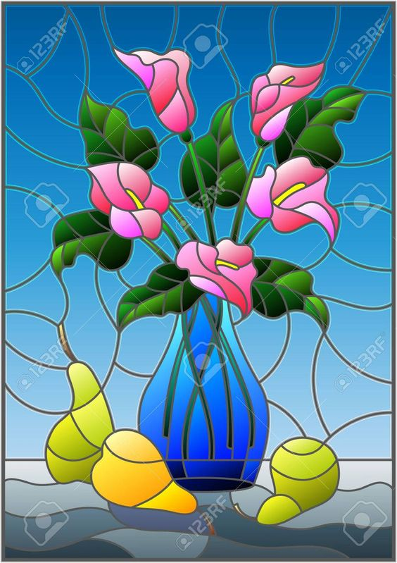 Bouquets of pink Calla lilies flowers in a blue vase