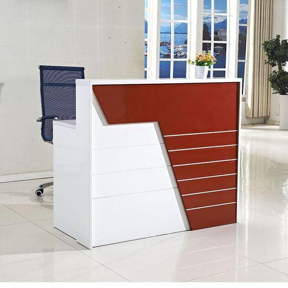 White Red Office Reception Desk, Small Reception Desk Ideas