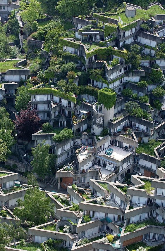 funky green architecture: Jean Renaudie's housing complex in Ivry sur Seine - French know architecture! so differently cool. like haphazard architecture more than Deconstructivist architecture but with purpose ; ):