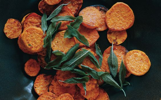 Roasted Sweet-Potato Rounds with Garlic Oil and Fried Sage