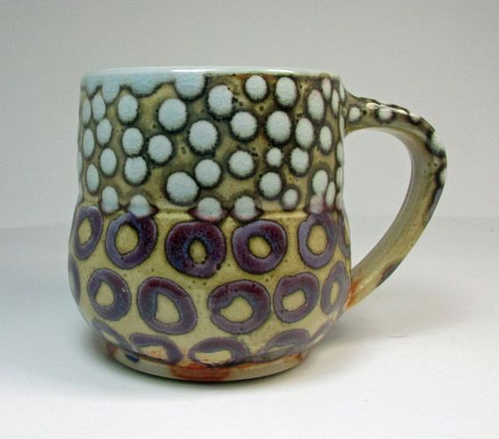 shino cup with purple circles and light blue by BlackForestPottery