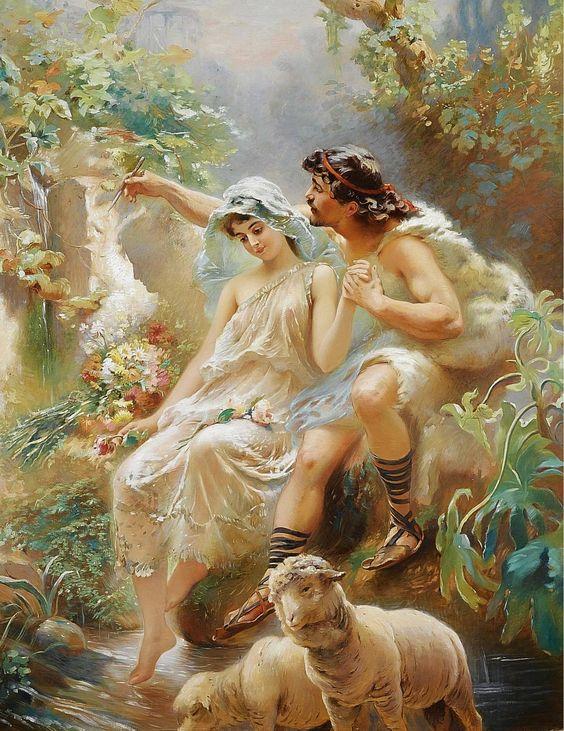 'Allegorical scene depicting painting from the von Dervis Mansion' - by Konstantin Egorovich Makovsky (1839-1915)