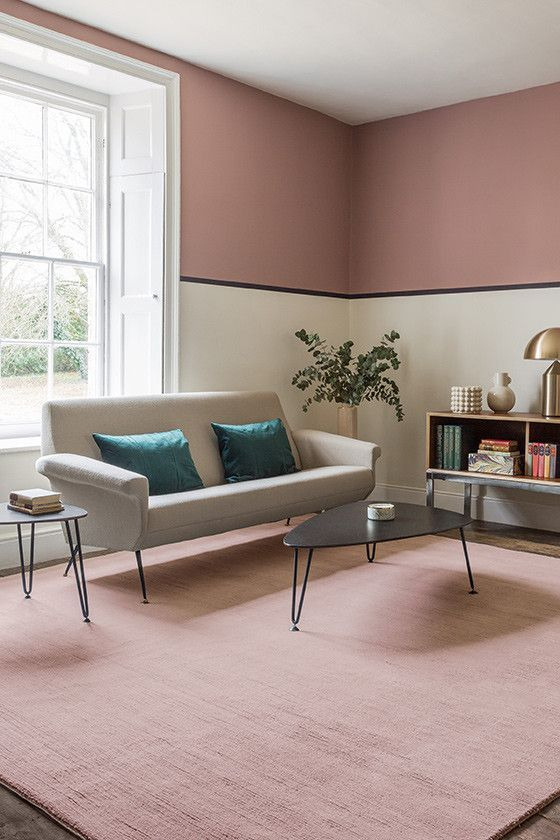 Pink Portobello Rug On Carpet Living Room Ideas Colour In 2020 Pink Living Room Living Room Carpet Home Decor