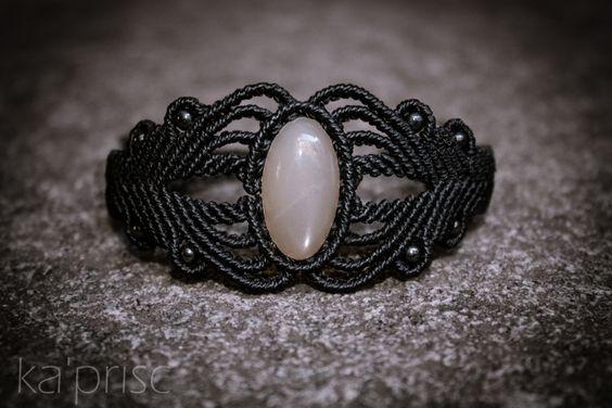 Indian Moonstone macrame bracelet
