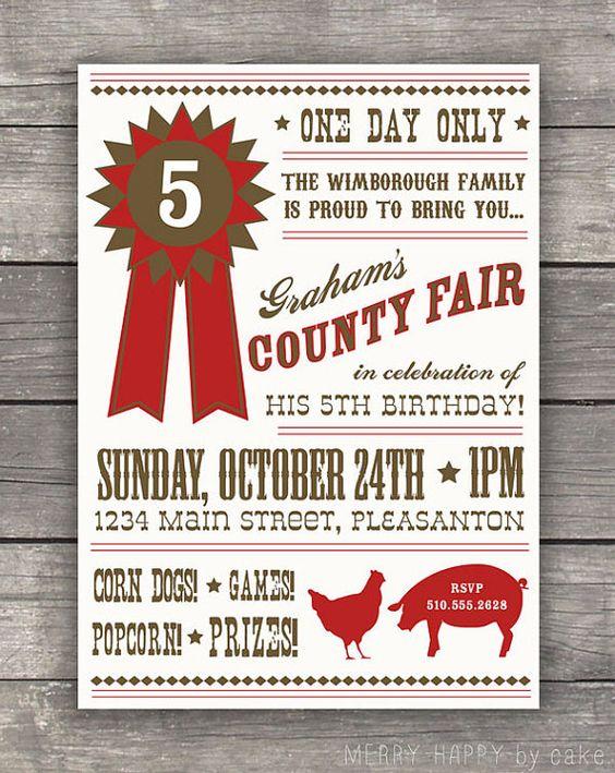 """county fair"" party invite."