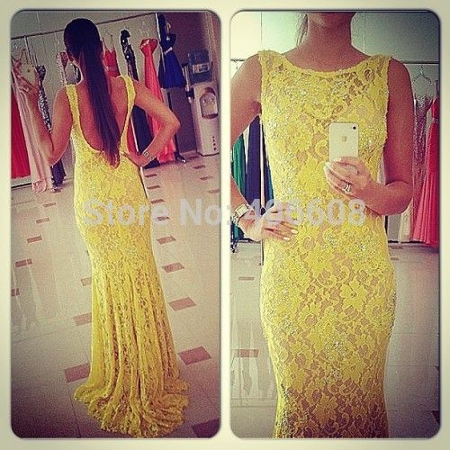 Find More Evening Dresses Information about 2015 Vestido De Festa New Sexy Scoop Sleeveless Crystal Beaded Lace Mermaid Yellow Evening Dress Backless Special Occasion Dress,High Quality dress knot,China dress patterns prom dresses Suppliers, Cheap dress business from Forever Lover Bridal on Aliexpress.com