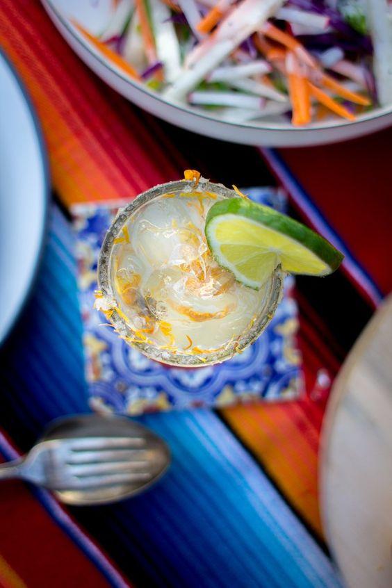 Marigold Mezcal Margarita Recipe. A unique cocktail for our Dia de los Muertos fiesta with @saltandwind and @beardandbonnet   | ¡HOLA! JALAPEÑO