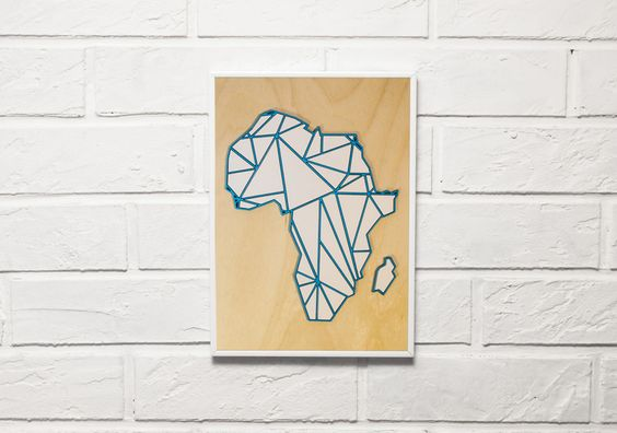 Poster on a wooden plywood aluminum frame with 3D elements Africa by Yeah Great
