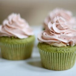 Strawberry green tea cupcakes in perfect shades of pink and green