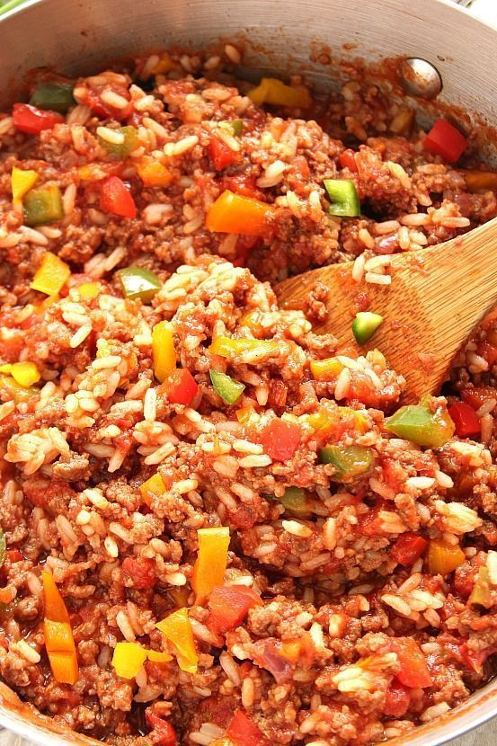 Stuffed Pepper Rice Skillet Recipe A Classic Dish Simplified Perfectly Seasoned Ground Beef Rice Colorful Peppers Stuffed Peppers Beef Dinner Beef Recipes