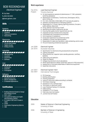 Electrical Engineer Cv Example Cv Examples Engineering Resume Electrical Engineering Jobs
