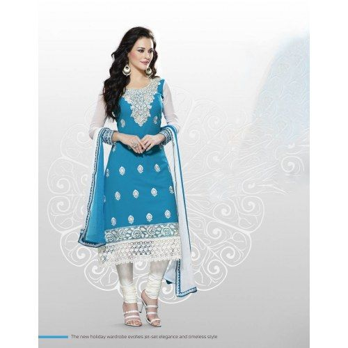 Elegant Georgette Anarkali  Printed Embroidered Suit Material D.No SW1105