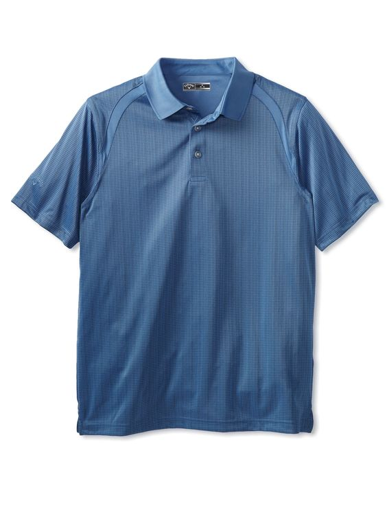 Callaway Men's Short Sleeve Pieced Mini Jacquard Polo (Folkstone Gray) #Polo #Men #PolosTees