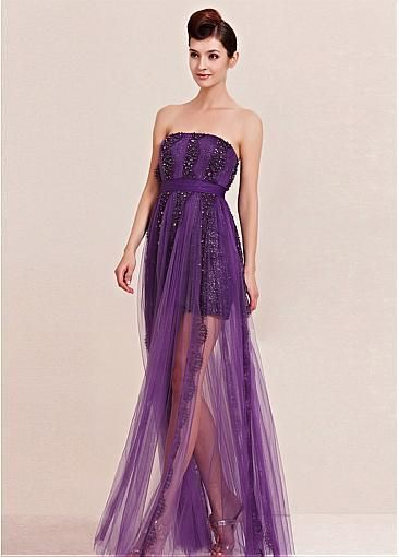 [216.99] In Stock Fashionable A-line Strapless High Raised Waistline Evening Dress  - Dressilyme.com