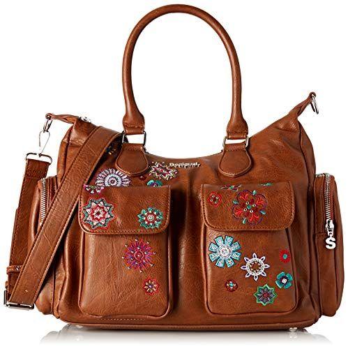 sac desigual fleurs cuir marron