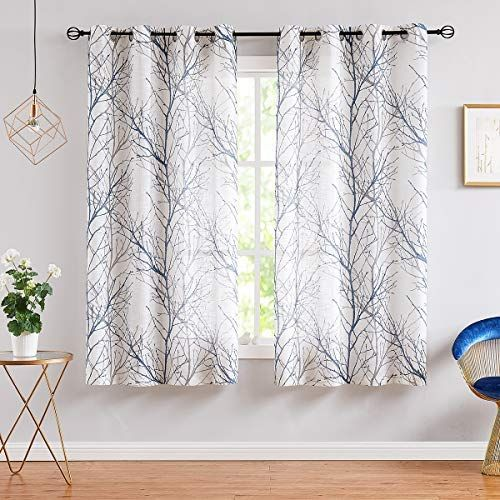 Fmfunctex Blue White Curtains For Kitchen Living Room 54 Grey