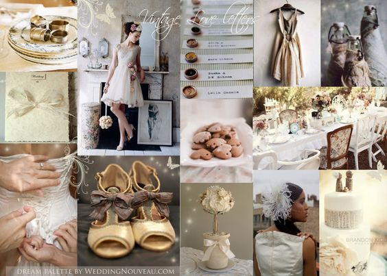 Vintage Style Decorating Ideas | Vintage white and cream Inspiration Board from Nouveau Weddings