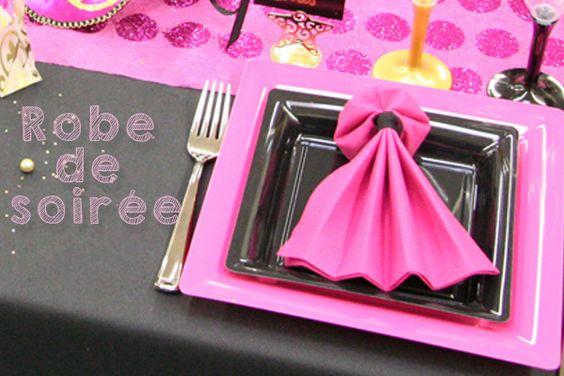 pliage de serviette en forme de robe de soir e bricolage serviettes de table pinterest. Black Bedroom Furniture Sets. Home Design Ideas