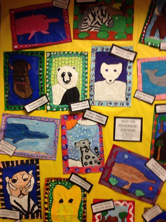 Endangered animal art ...Follow for Free 'too-neat-not-keep' literacy tools fun teaching stuff :)