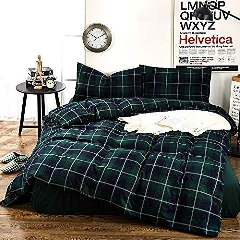 Plaid Flannel Twin Duvet Cover Set Kids Bedding Collection Luxury 3 Piece Green Grid Printed Pattern Single Be Bedding Sets Full Bedding Sets King Bedding Sets