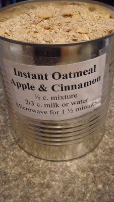 Homemade instant oatmeal--so easy to put together and even our 4 year old can make his own breakfast in the morning. Just add water!  Deals to Meals