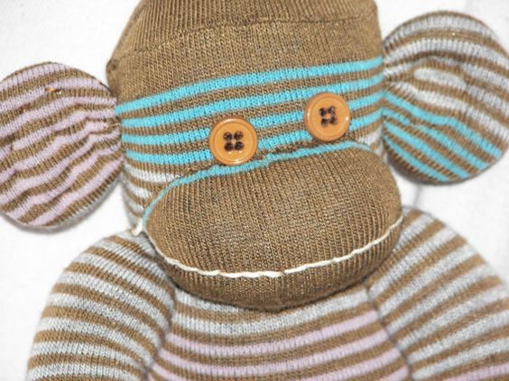 MADE TO ORDER...Sock Monkey Doll Plush Stuffed Animal in by AsYouWishCreations4u, $27.00