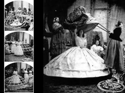 1856.Se comenzó a utilizar un miriñaque que aplicaba en su confección todo el desarrollo científico de la época.Estaba realizado con varillas de acero flexible cocidos a una enagua y como eran mas sencillos de ponerse y sacarse que sus antecesores, las faldas siguieron creciendo hasta alcanzar su talla máxima en la década del 60