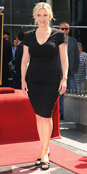 KATE WINSLET Appearing for the first time since welcoming son Bear last December, Kate accessorizes her LBD with some pretty stellar pieces – Roger Vivier heels and diamond danglers from Ana Khouri – when she receives her star on the Hollywood Walk of Fame.