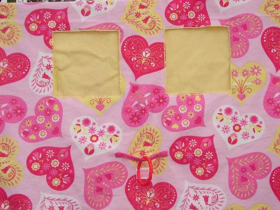 Pink/Yellow Heart Cotton Flannel Trolley Cover with toy hook