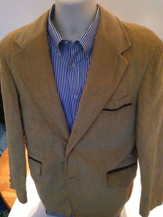 Vintage Montgomery Wards Corduroy Blazer Jacket Men's 40R 40Regular  #MontgomeryWards #TwoButton